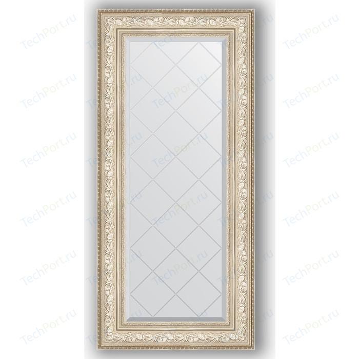 Зеркало с гравировкой поворотное Evoform Exclusive-G 60x130 см, в багетной раме - виньетка серебро 109 мм (BY 4082) зеркало с фацетом в багетной раме поворотное evoform exclusive 80x110 см виньетка серебро 109 мм by 3478
