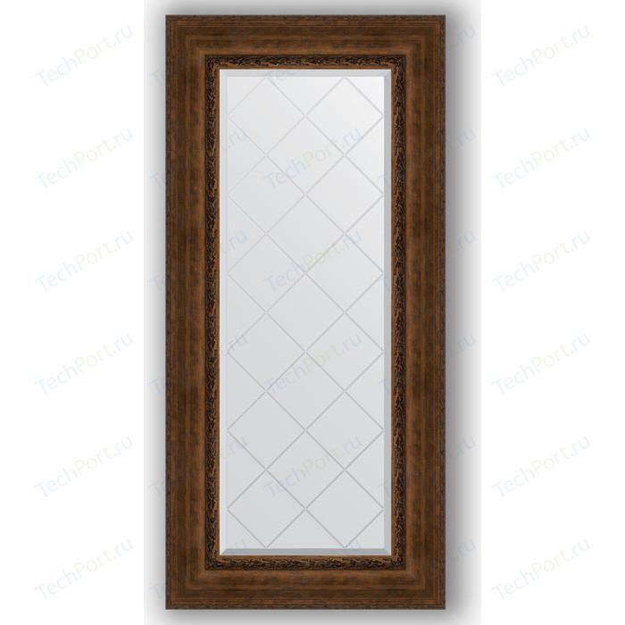 Зеркало с гравировкой поворотное Evoform Exclusive-G 62x132 см, в багетной раме - состаренная бронза орнаментом 120 мм (BY 4085)