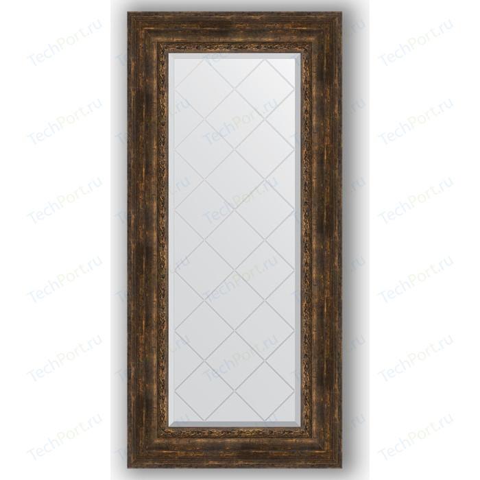 Зеркало с гравировкой поворотное Evoform Exclusive-G 62x132 см, в багетной раме - состаренное дерево орнаментом 120 мм (BY 4086)