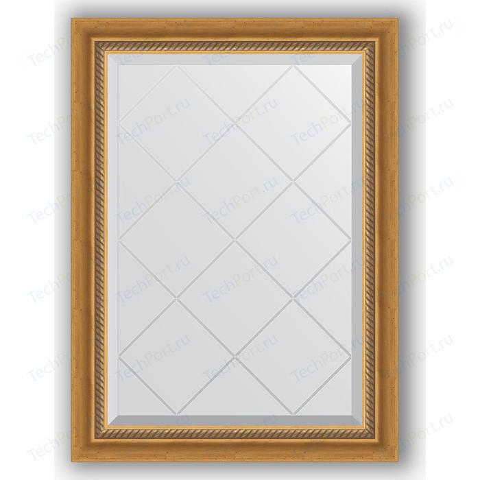 Зеркало с гравировкой поворотное Evoform Exclusive-G 63x86 см, в багетной раме - состаренное золото плетением 70 мм (BY 4088)