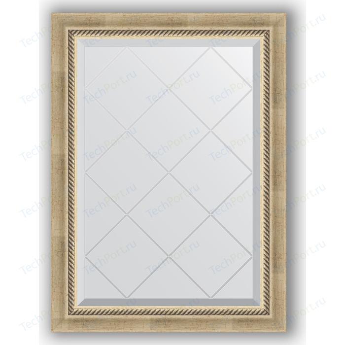 Зеркало с гравировкой поворотное Evoform Exclusive-G 63x86 см, в багетной раме - состаренное серебро плетением 70 мм (BY 4089)