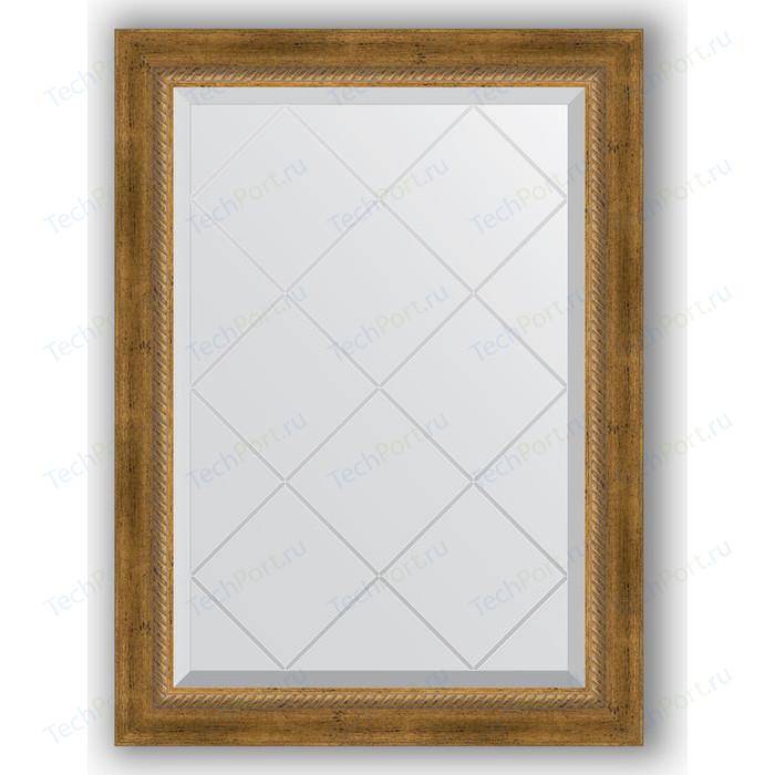 Зеркало с гравировкой поворотное Evoform Exclusive-G 63x86 см, в багетной раме - состаренная бронза плетением 70 мм (BY 4090)