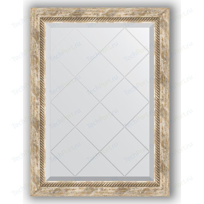 Зеркало с гравировкой поворотное Evoform Exclusive-G 63x86 см, в багетной раме - прованс плетением 70 мм (BY 4091)