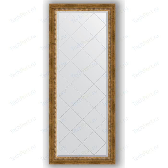 Зеркало с гравировкой поворотное Evoform Exclusive-G 63x153 см, в багетной раме - состаренная бронза плетением 70 мм (BY 4133)