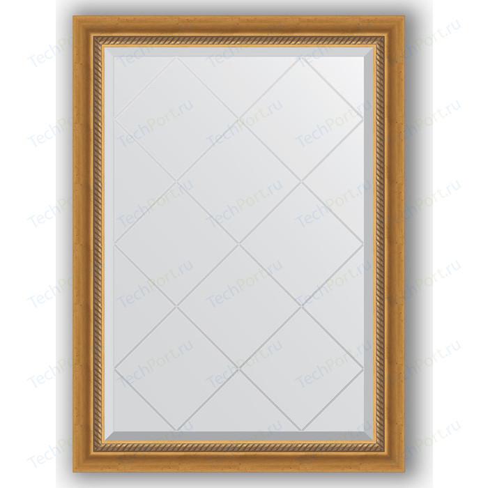 Зеркало с гравировкой поворотное Evoform Exclusive-G 73x101 см, в багетной раме - состаренное золото плетением 70 мм (BY 4174)