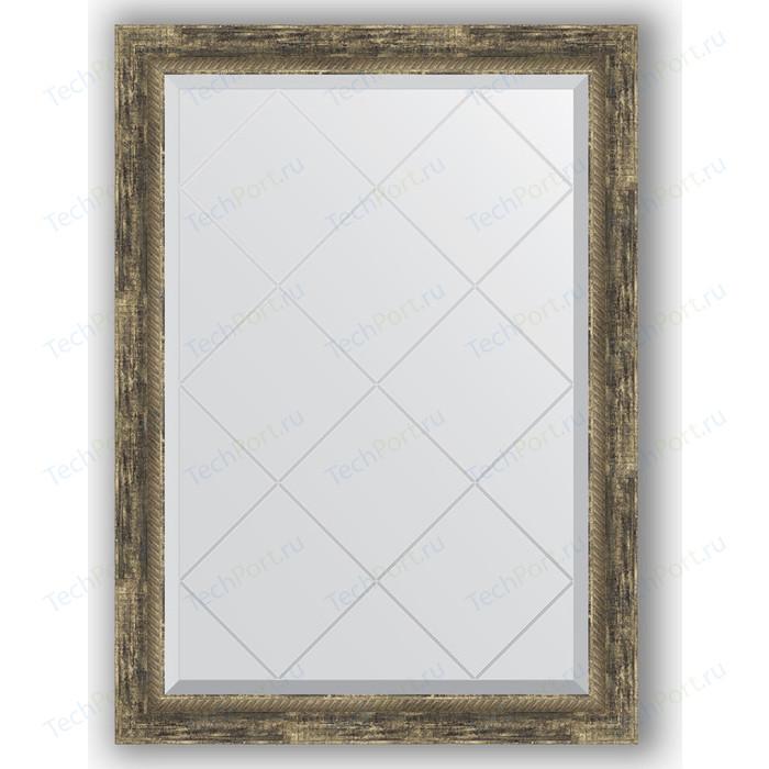 Зеркало с гравировкой поворотное Evoform Exclusive-G 73x101 см, в багетной раме - старое дерево плетением 70 мм (BY 4178)