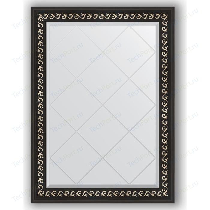 Зеркало с гравировкой поворотное Evoform Exclusive-G 75x102 см, в багетной раме - черный ардеко 81 мм (BY 4182)