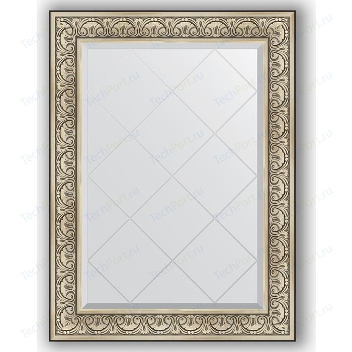 Зеркало с гравировкой поворотное Evoform Exclusive-G 80x107 см, в багетной раме - барокко серебро 106 мм (BY 4209) зеркало с гравировкой поворотное evoform exclusive g 80x162 см в багетной раме барокко золото 106 мм by 4294