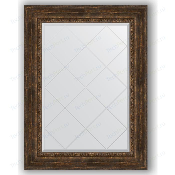 Зеркало с гравировкой поворотное Evoform Exclusive-G 82x110 см, в багетной раме - состаренное дерево орнаментом 120 мм (BY 4215)