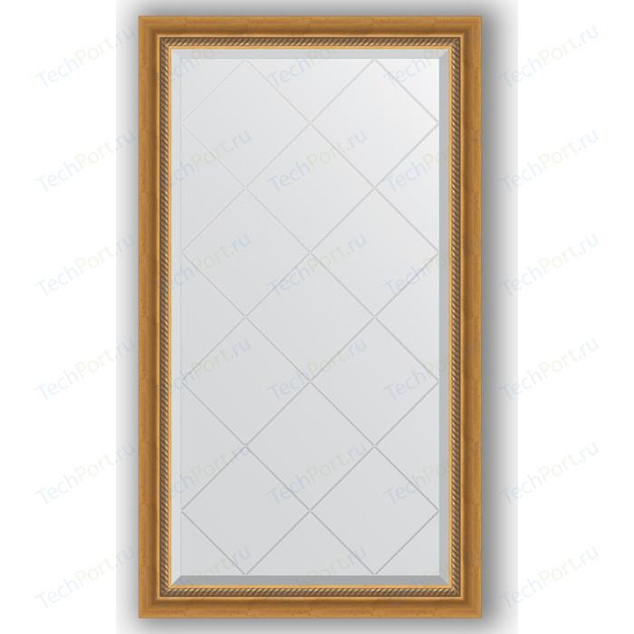 Зеркало с гравировкой поворотное Evoform Exclusive-G 73x128 см, в багетной раме - состаренное золото плетением 70 мм (BY 4217)