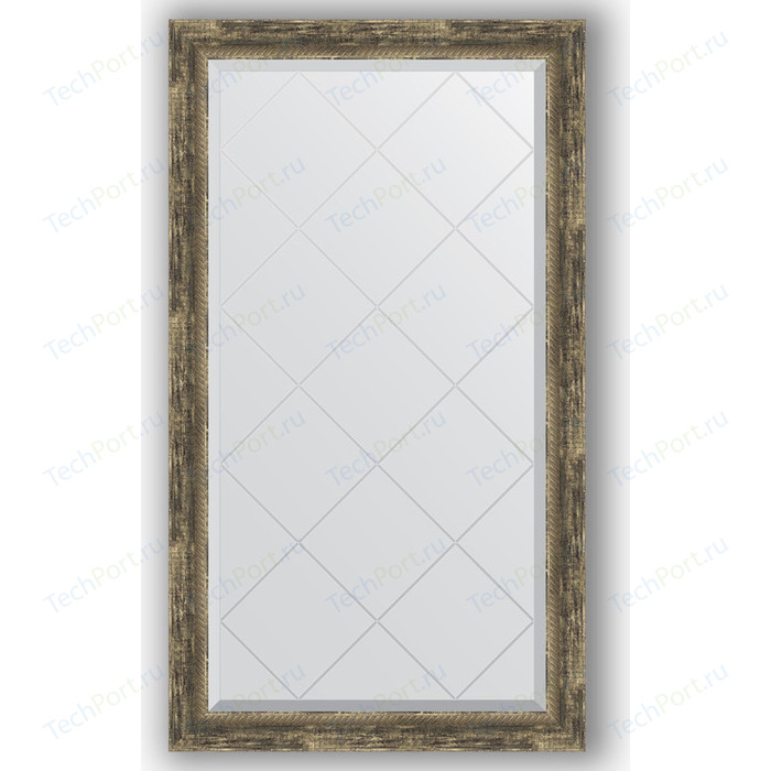 Зеркало с гравировкой поворотное Evoform Exclusive-G 73x128 см, в багетной раме - старое дерево плетением 70 мм (BY 4221)