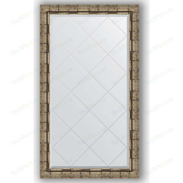 Зеркало с гравировкой поворотное Evoform Exclusive-G 73x128 см, в багетной раме - серебряный бамбук 73 мм (BY 4222)