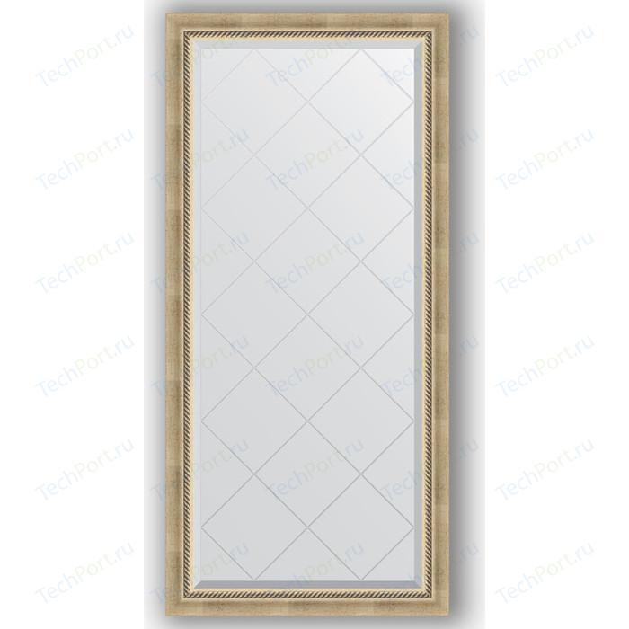 Зеркало с гравировкой поворотное Evoform Exclusive-G 73x155 см, в багетной раме - состаренное серебро плетением 70 мм (BY 4261)