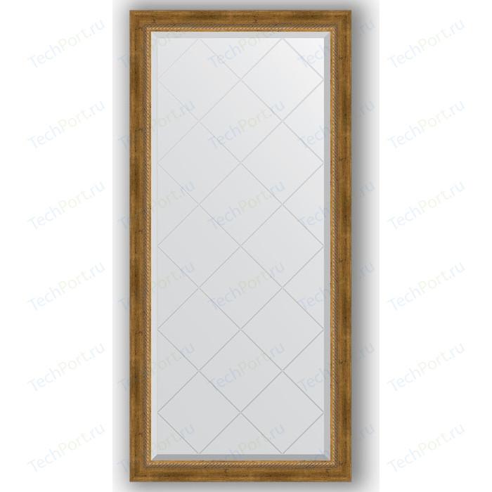 Зеркало с гравировкой поворотное Evoform Exclusive-G 73x155 см, в багетной раме - состаренная бронза плетением 70 мм (BY 4262)