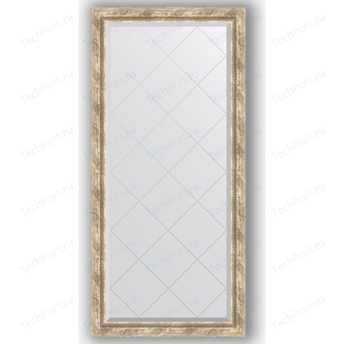 Зеркало с гравировкой поворотное Evoform Exclusive-G 73x155 см, в багетной раме - прованс плетением 70 мм (BY 4263)