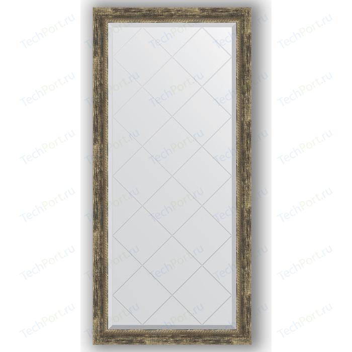 Зеркало с гравировкой поворотное Evoform Exclusive-G 73x155 см, в багетной раме - старое дерево плетением 70 мм (BY 4264)