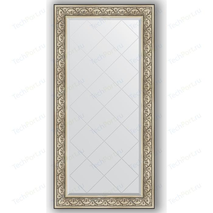 Зеркало с гравировкой поворотное Evoform Exclusive-G 80x162 см, в багетной раме - барокко серебро 106 мм (BY 4295)