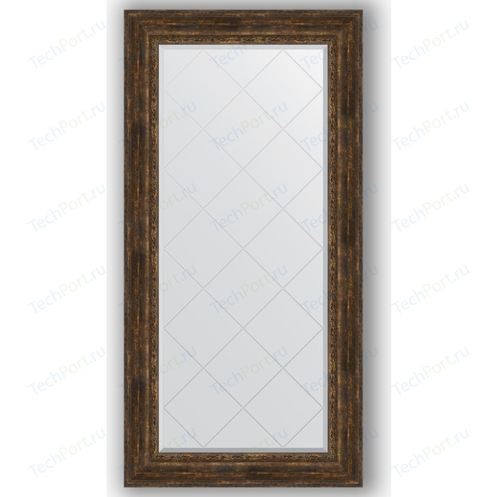 Зеркало с гравировкой поворотное Evoform Exclusive-G 82x164 см, в багетной раме - состаренное дерево орнаментом 120 мм (BY 4301)