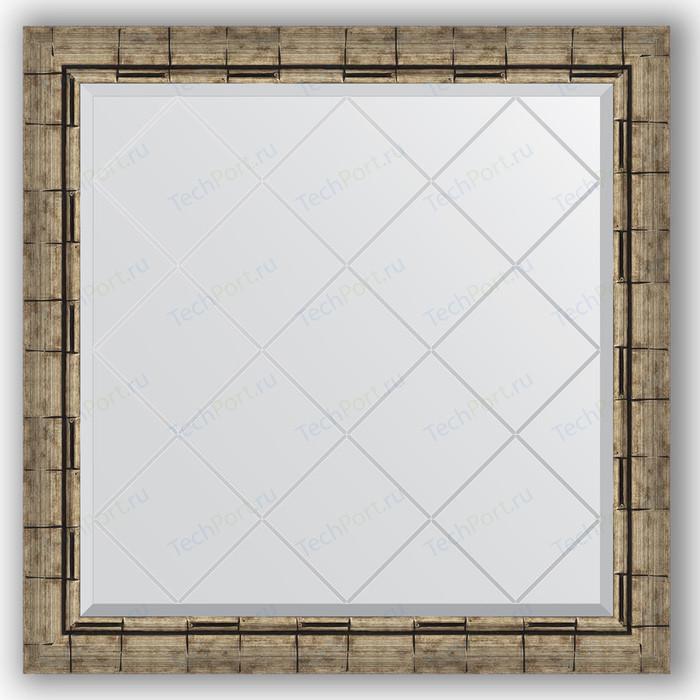 Зеркало с гравировкой Evoform Exclusive-G 83x83 см, в багетной раме - серебряный бамбук 73 мм (BY 4308)