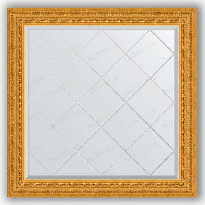 Зеркало с гравировкой Evoform Exclusive-G 85x85 см, в багетной раме - сусальное золото 80 мм (BY 4310) зеркало evoform exclusive floor 199х100 сусальное золото