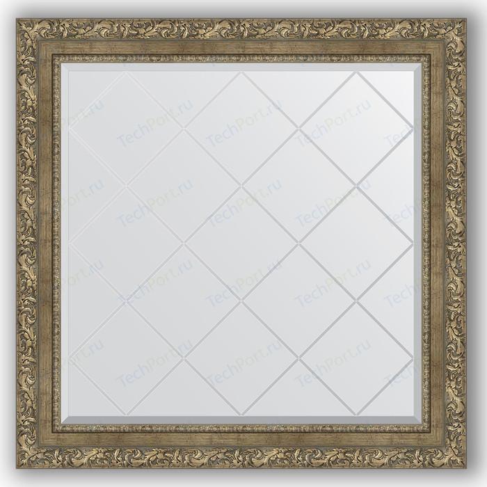 Зеркало с гравировкой Evoform Exclusive-G 85x85 см, в багетной раме - виньетка античная латунь 85 мм (BY 4317)