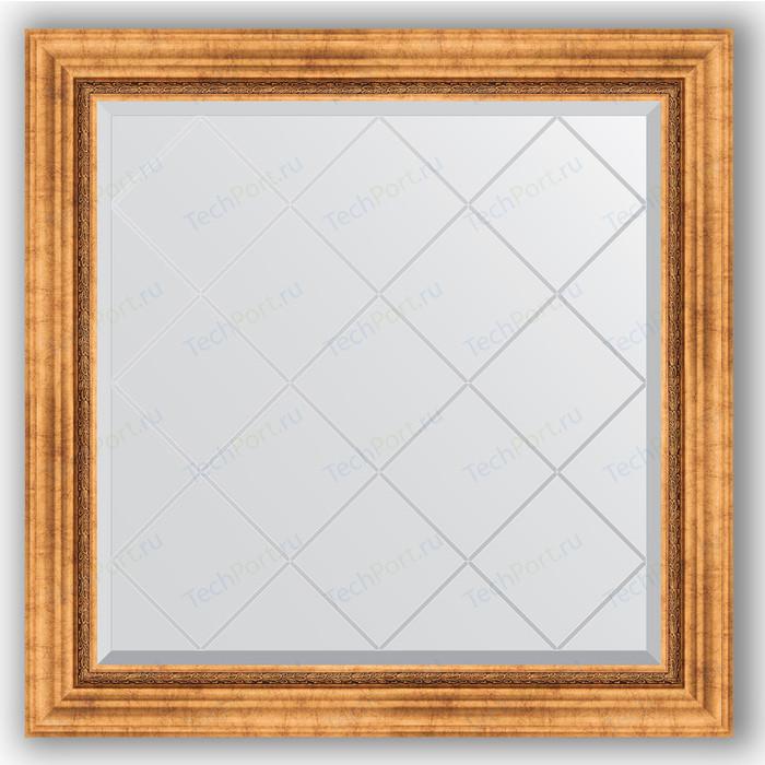 Зеркало с гравировкой Evoform Exclusive-G 86x86 см, в багетной раме - римское золото 88 мм (BY 4318) зеркало с гравировкой evoform exclusive g 86x86 см в багетной раме римское серебро 88 мм by 4319