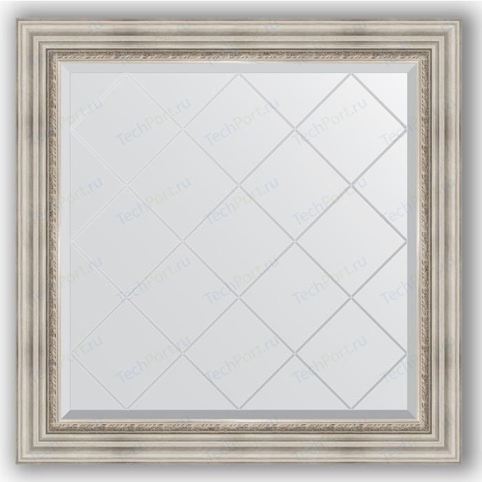 Зеркало с гравировкой Evoform Exclusive-G 86x86 см, в багетной раме - римское серебро 88 мм (BY 4319) зеркало с гравировкой evoform exclusive g 86x86 см в багетной раме римское серебро 88 мм by 4319