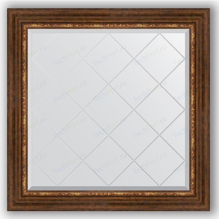Зеркало с гравировкой Evoform Exclusive-G 86x86 см, в багетной раме - римская бронза 88 мм (BY 4320)