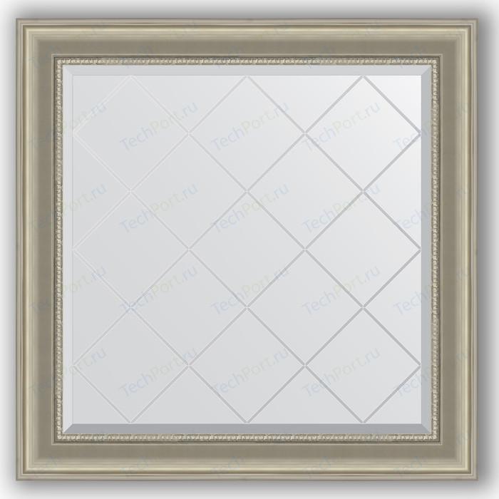 Зеркало с гравировкой Evoform Exclusive-G 86x86 см, в багетной раме - хамелеон 88 мм (BY 4321) зеркало с гравировкой evoform exclusive g 86x86 см в багетной раме римское серебро 88 мм by 4319