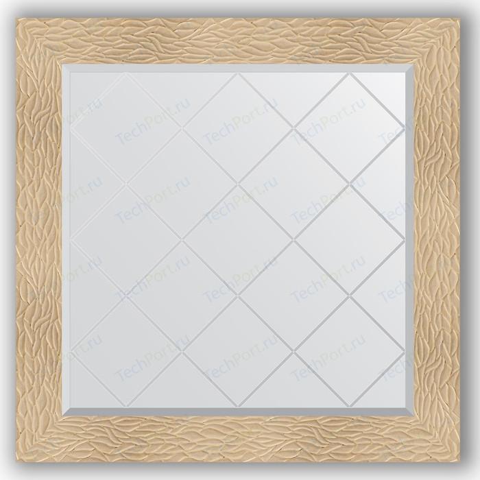 Зеркало с гравировкой Evoform Exclusive-G 86x86 см, в багетной раме - золотые дюны 90 мм (BY 4322) зеркало с гравировкой поворотное evoform exclusive g 56x74 см в багетной раме золотые дюны 90 мм by 4021