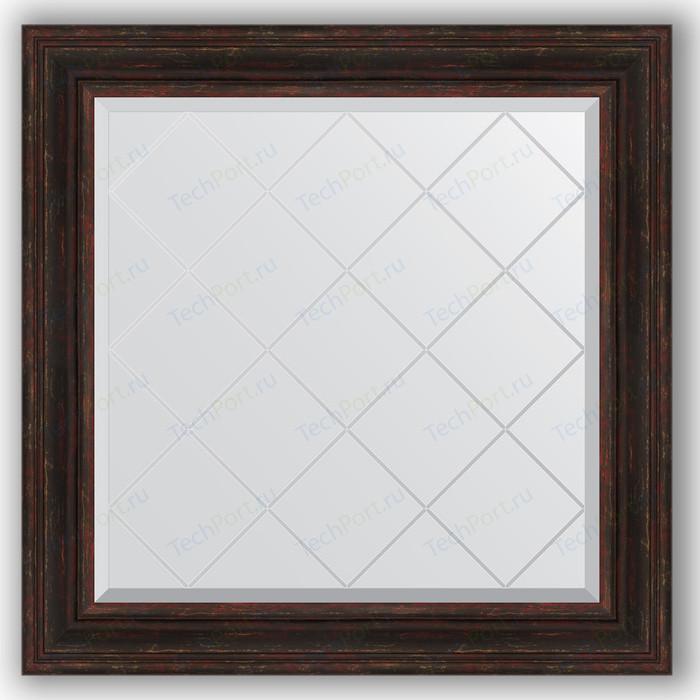 Зеркало с гравировкой Evoform Exclusive-G 89x89 см, в багетной раме - темный прованс 99 мм (BY 4334)