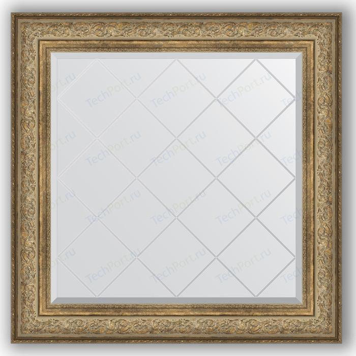 Зеркало с гравировкой Evoform Exclusive-G 90x90 см, в багетной раме - виньетка античная бронза 109 мм (BY 4339)