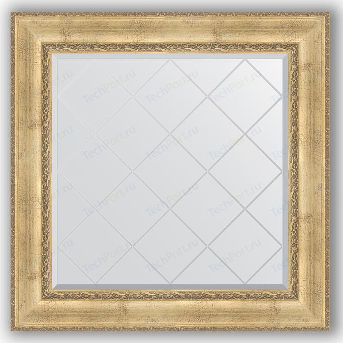 Зеркало с гравировкой Evoform Exclusive-G 92x92 см, в багетной раме - состаренное серебро орнаментом 120 мм (BY 4342)