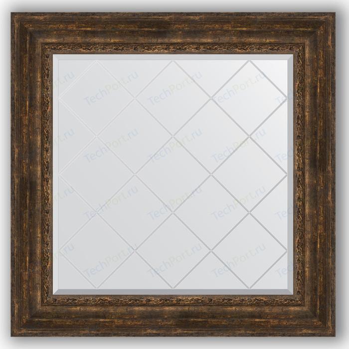Зеркало с гравировкой Evoform Exclusive-G 92x92 см, в багетной раме - состаренное дерево с орнаментом 120 мм (BY 4344) зеркало напольное 87х207 см состаренное дерево с орнаментом evoform exclusive floor by 6140