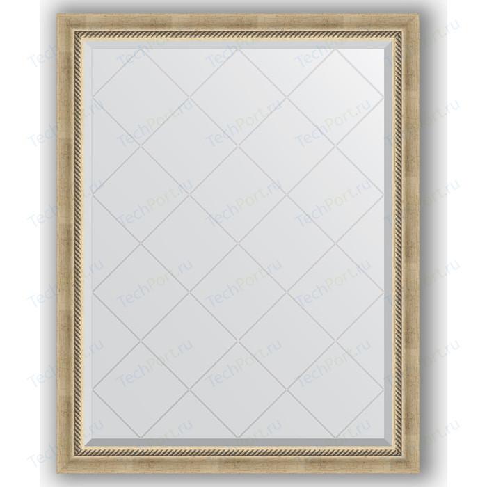 Зеркало с гравировкой поворотное Evoform Exclusive-G 93x118 см, в багетной раме - состаренное серебро плетением 70 мм (BY 4347)