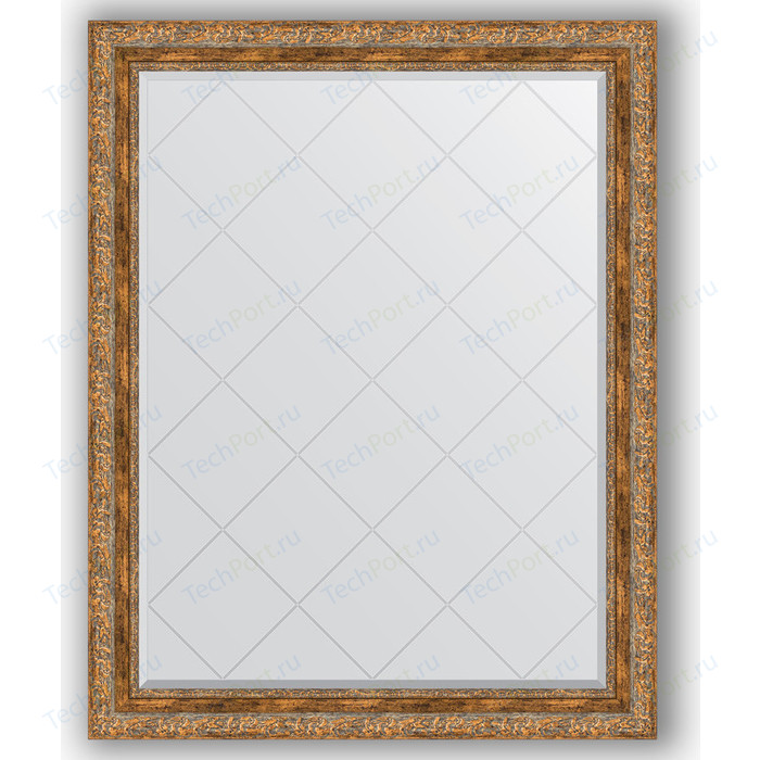 Зеркало с гравировкой поворотное Evoform Exclusive-G 95x120 см, в багетной раме - виньетка античная бронза 85 мм (BY 4359)