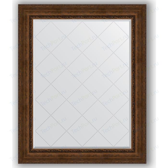 Зеркало с гравировкой поворотное Evoform Exclusive-G 102x127 см, в багетной раме - состаренная бронза орнаментом 120 мм (BY 4386)