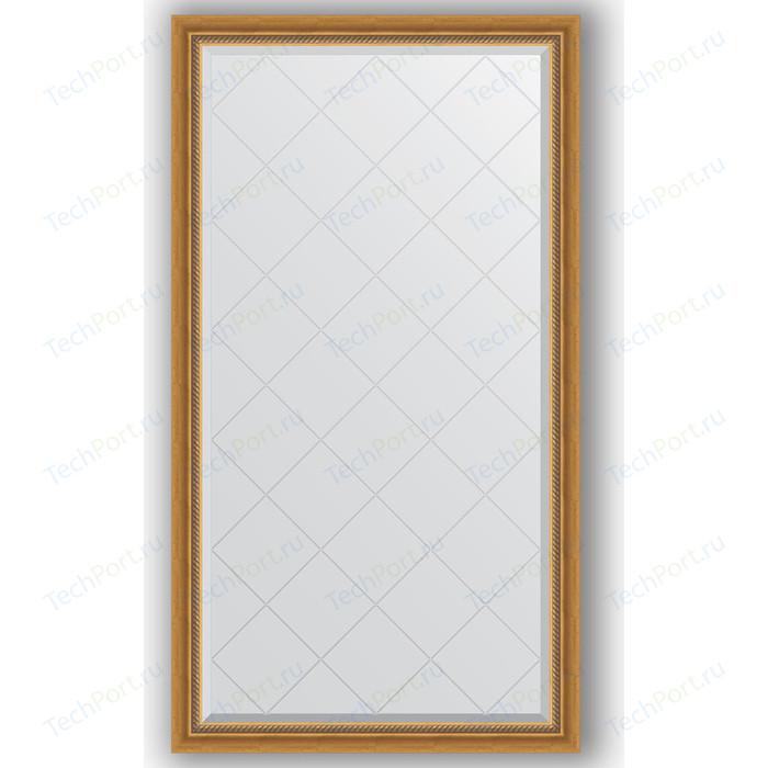 Зеркало с гравировкой поворотное Evoform Exclusive-G 93x168 см, в багетной раме - состаренное золото плетением 70 мм (BY 4389)