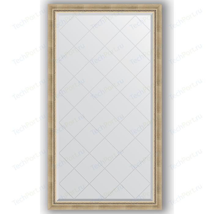 Зеркало с гравировкой поворотное Evoform Exclusive-G 93x168 см, в багетной раме - состаренное серебро плетением 70 мм (BY 4390)