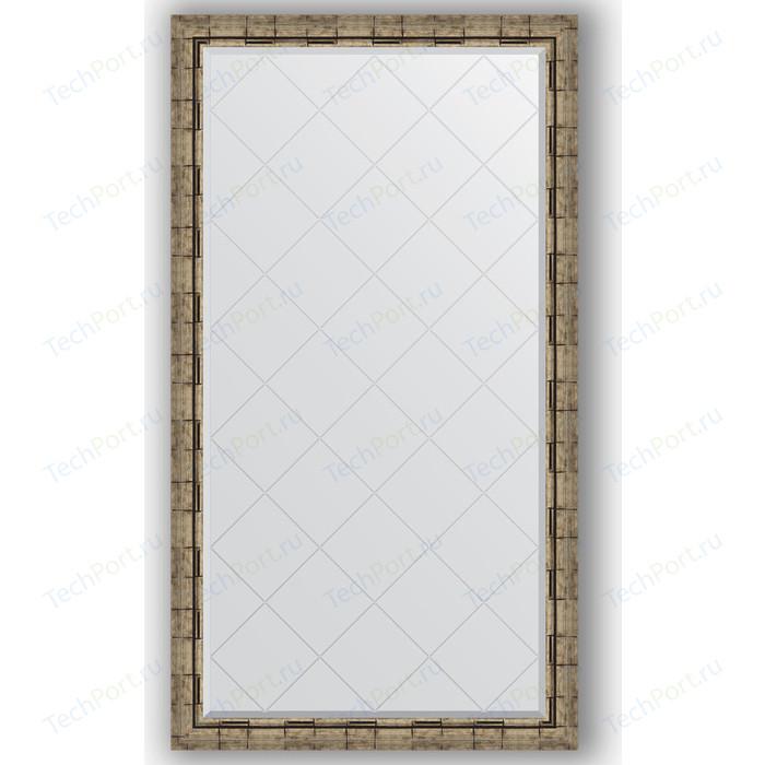 Зеркало с гравировкой поворотное Evoform Exclusive-G 93x168 см, в багетной раме - серебряный бамбук 73 мм (BY 4394)