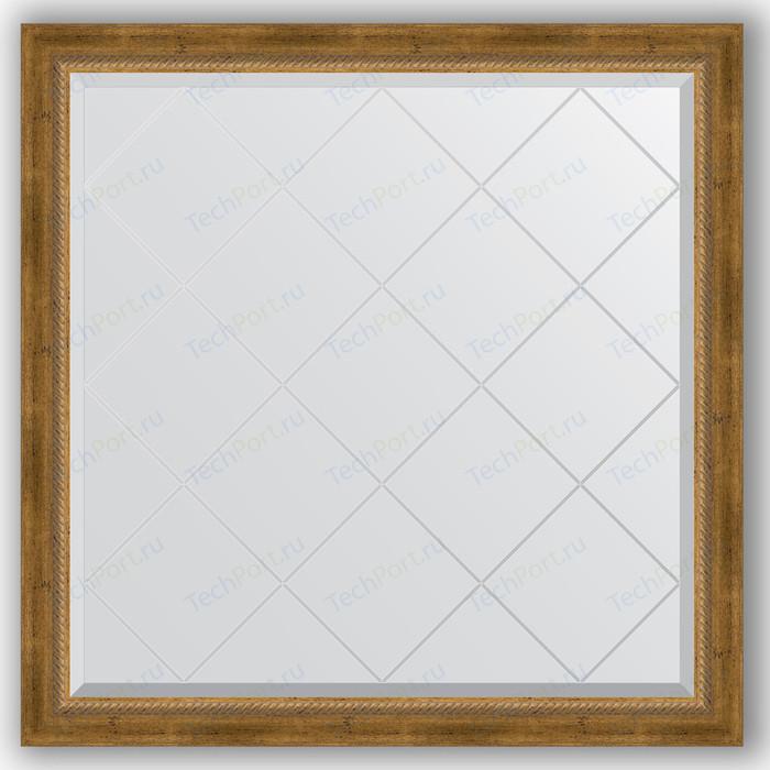 Зеркало с гравировкой Evoform Exclusive-G 103x103 см, в багетной раме - состаренная бронза плетением 70 мм (BY 4434)