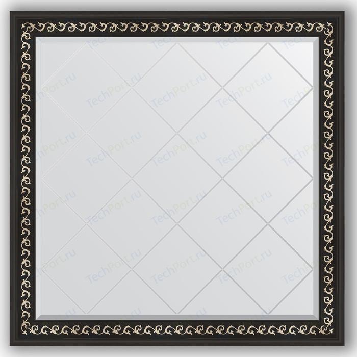 Зеркало с гравировкой Evoform Exclusive-G 105x105 см, в багетной раме - черный ардеко 81 мм (BY 4440)