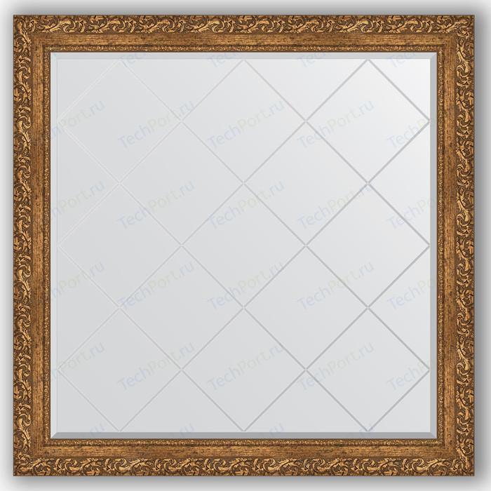 Зеркало с гравировкой Evoform Exclusive-G 105x105 см, в багетной раме - виньетка бронзовая 85 мм (BY 4443)