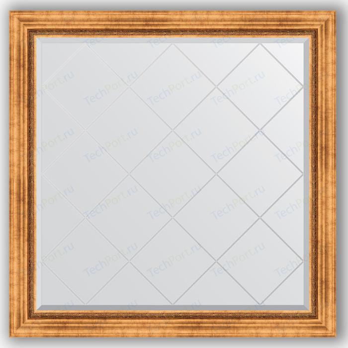 Зеркало с гравировкой Evoform Exclusive-G 106x106 см, в багетной раме - римское золото 88 мм (BY 4447) зеркало напольное с гравировкой evoform exclusive g floor 81x201 см в багетной раме римское золото 88 мм by 6317