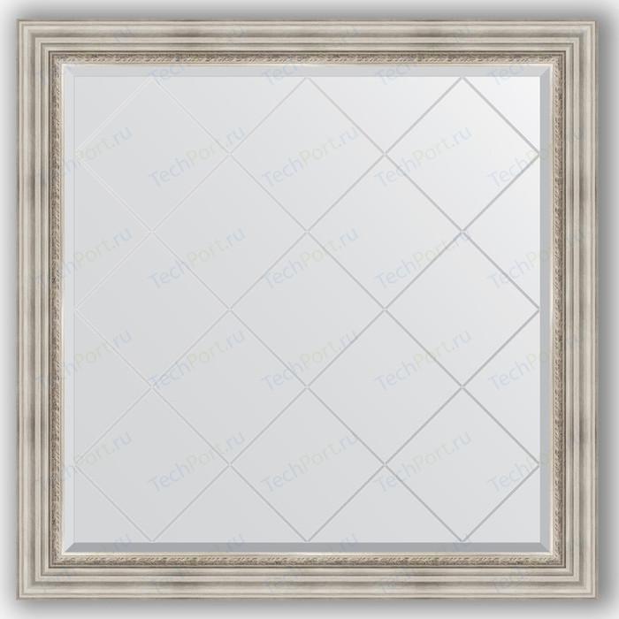 Зеркало с гравировкой Evoform Exclusive-G 106x106 см, в багетной раме - римское серебро 88 мм (BY 4448) зеркало с гравировкой evoform exclusive g 86x86 см в багетной раме римское серебро 88 мм by 4319