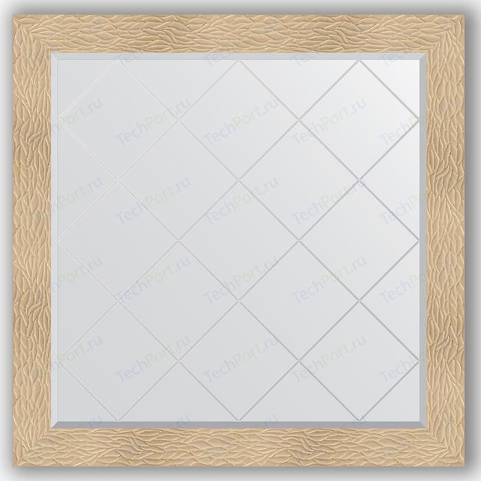 Зеркало с гравировкой Evoform Exclusive-G 106x106 см, в багетной раме - золотые дюны 90 мм (BY 4451) зеркало с гравировкой поворотное evoform exclusive g 56x74 см в багетной раме золотые дюны 90 мм by 4021