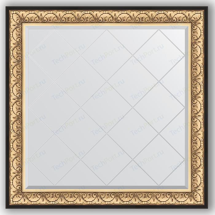 Зеркало с гравировкой Evoform Exclusive-G 110x110 см, в багетной раме - барокко золото 106 мм (BY 4466)