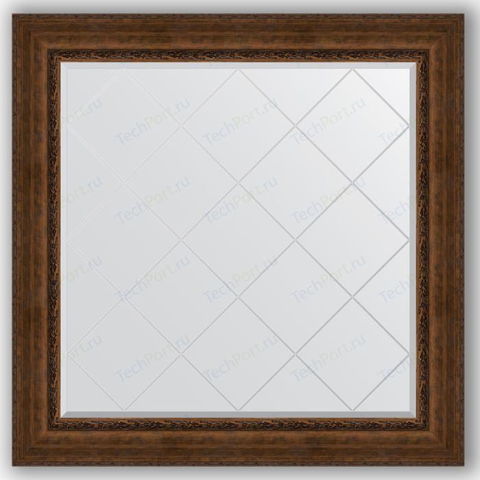 Зеркало с гравировкой Evoform Exclusive-G 112x112 см, в багетной раме - состаренная бронза орнаментом 120 мм (BY 4472)