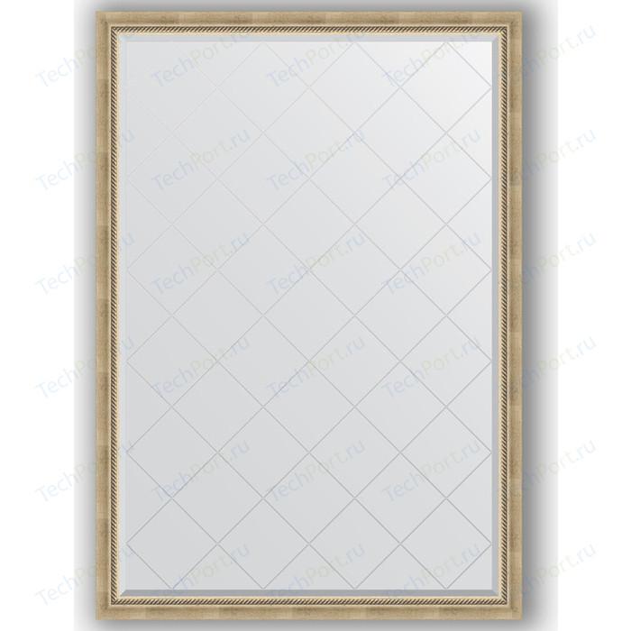 Зеркало с гравировкой поворотное Evoform Exclusive-G 128x183 см, в багетной раме - состаренное серебро плетением 70 мм (BY 4476)