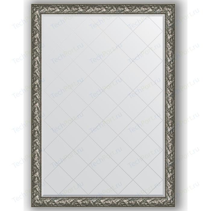 Зеркало с гравировкой поворотное Evoform Exclusive-G 134x188 см, в багетной раме - византия серебро 99 мм (BY 4501)